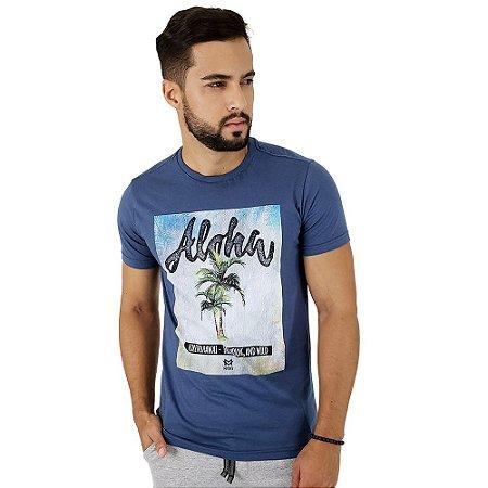 Camiseta Masculina Mitchs Aloha Azul Estampada