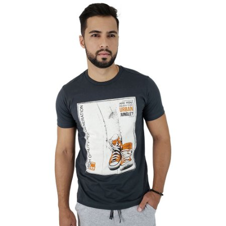 Camiseta Masculina Mitchs Grafite Urban Jungle
