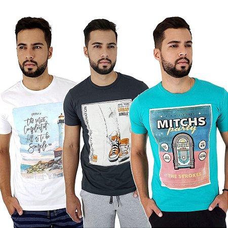 Kit com 3 Camisetas Masculinas Estampadas Mitchs