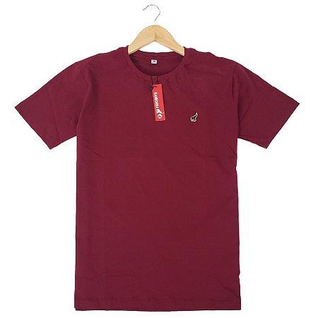 Camiseta Básica Masculina Algodão Vermelho Escuro Bamborra