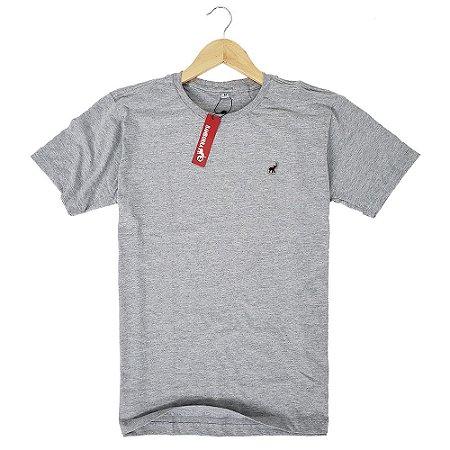 Camiseta Básica Masculina Algodão Cinza Claro Mescla Bamborra