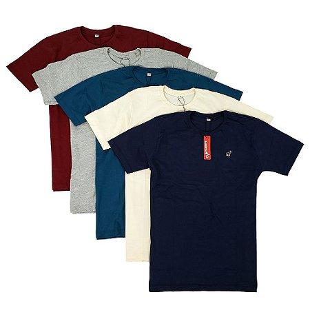 Kit Com 5 Camisetas Masculinas Básicas Coloridas de Algodão Bamborra