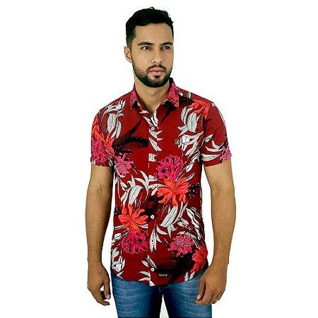 Camisa Florida Masculina de Viscose Vermelha Casual Bamborra