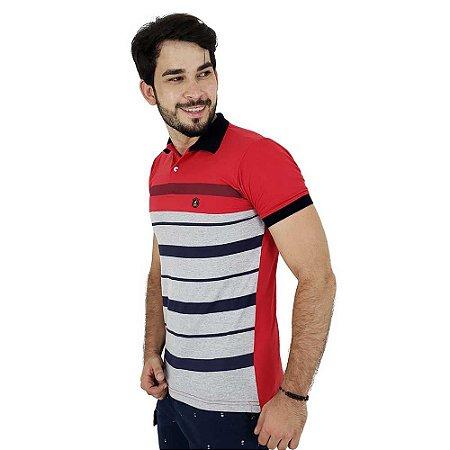 Camisa Polo Masculina Vermelha Listrada Bamborra