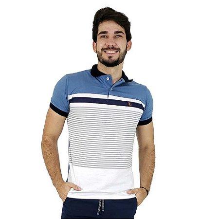 Camisa Polo Masculina Azul Claro Listrada Bamborra