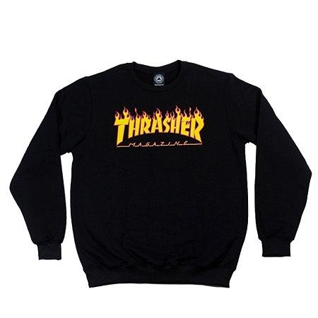 Moletom Thrasher Magazine Flame Logo Careca Black
