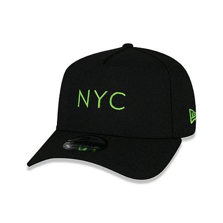 BONÉ NEW ERA  9FORTY A-FRAME SIMPLE SIGNATURE FLUOR NYC NEW YORK CITY BLACK