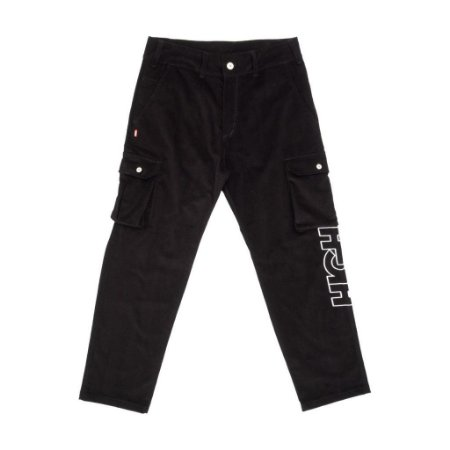 Calça Corduroy Cargo Pants Black High