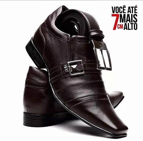 7e74142641 Kit Sapato Social Venetto Em Couro Aumenta Altura Com Cinto ...