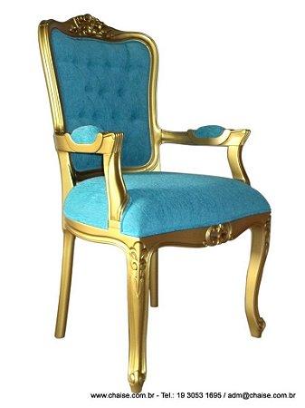cadeira Luis XV com braços -pintura dourada