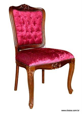 Cadeira Luis XV sem braços - encosto capitonê