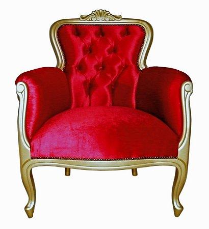Poltrona modelo JK - pintura dourada / suede veludo vermelho