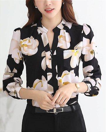 Camisa de Chiffon Estampa Floral