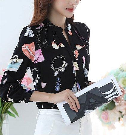 Camisa de Chiffon Estampa Girl