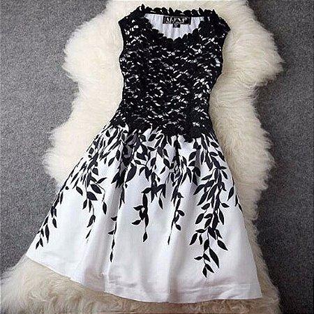 Vestido Black White Florido