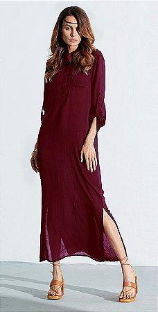 Vestido Longo Casual Linho