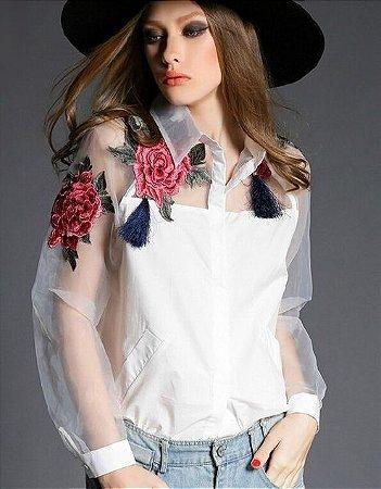 Camisa Fashion Boradada de Flores