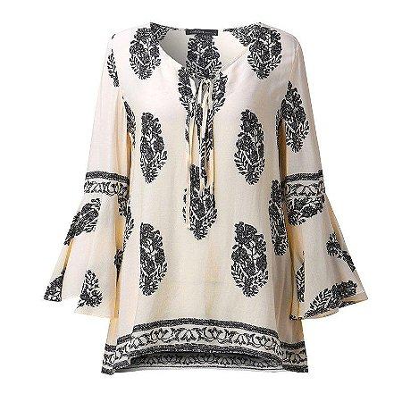 Blusa Floral Lace Up