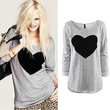 Camisa Print Black Heart