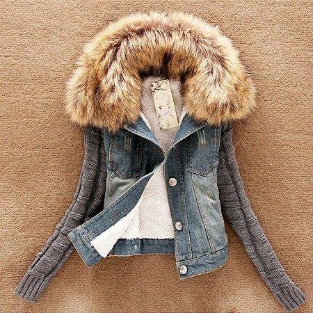 Jaqueta Jeans com Pelos