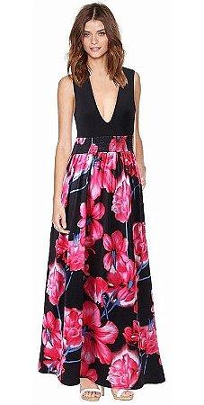 Vestido Decote em V Floral
