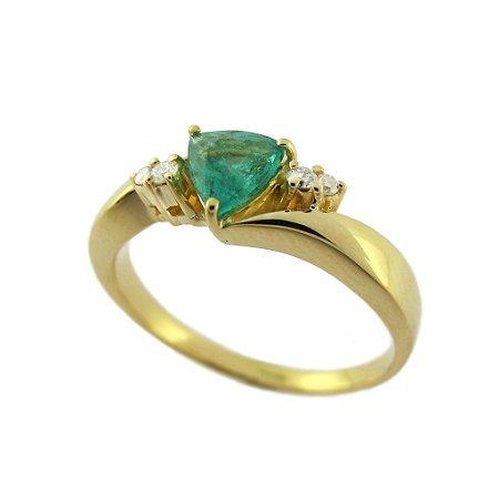 Anel de Ouro - Esmeralda - Pedra Preciosa - Sensacional