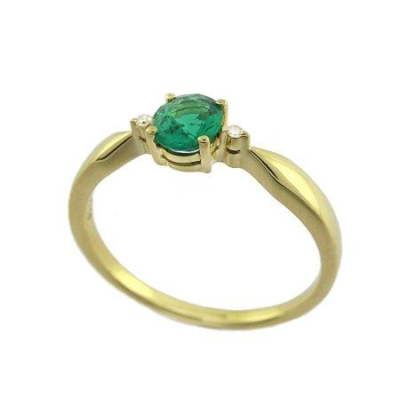 Anel  Ouro 18k - Esmeralda - Pedra Preciosa - Glamurosa
