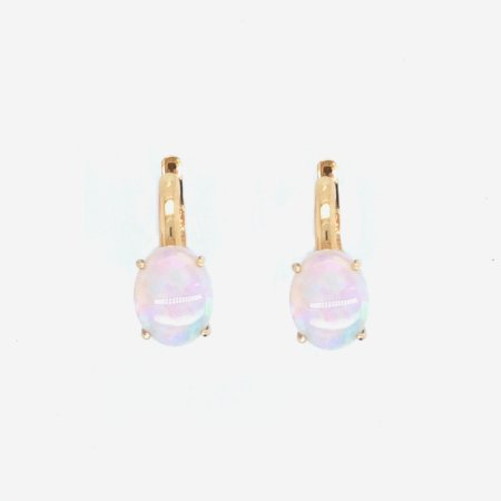 Brinco de Ouro 18k - Opala - Pedras Preciosas - Delicado