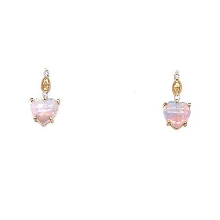 Brinco de Ouro 18k - Opala - Pedras Preciosas - Coração