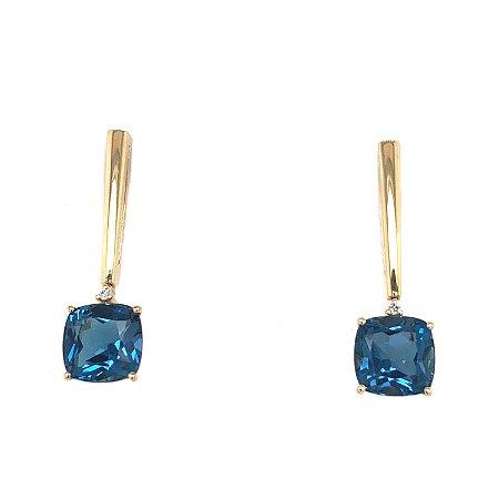 Brinco de Ouro - Topázio Azul - Pedra Preciosa - incrivel