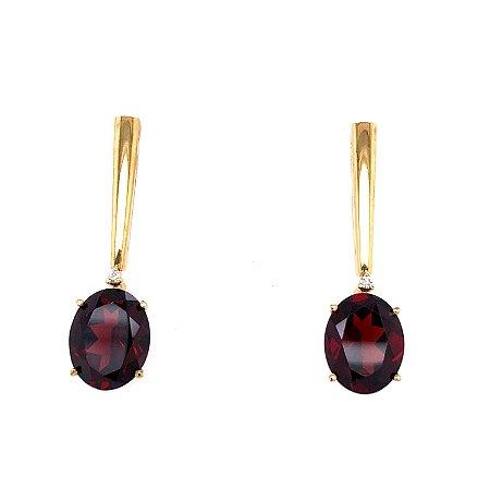 Brinco de Ouro 18k - Granada - Pedra Preciosa -  Super Delicada