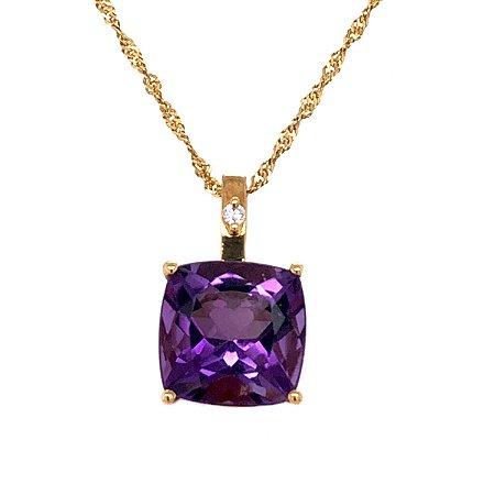 Pingente de Ouro - Ametista - Pedra Preciosa - Meiga