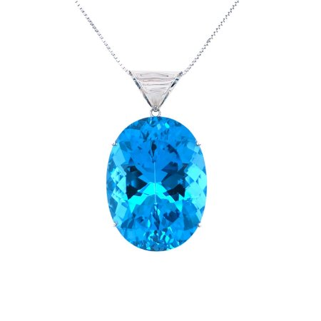 Pingente - Topazio Azul - Ouro - Oval - Magnífico