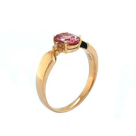 Anel de Ouro 18k - Topázio Imperial - Pedra Preciosa - Delicado