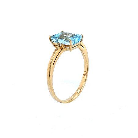 Anel de Ouro - Topázio Azul - Gemas - Retangular