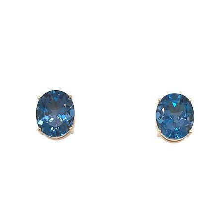Brinco de Ouro - Topázio Azul - Gemas - Oval -  Delicado