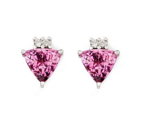 Brinco de Ouro - Turmalina - Rosa - Pedra Preciosa - Fabuloso