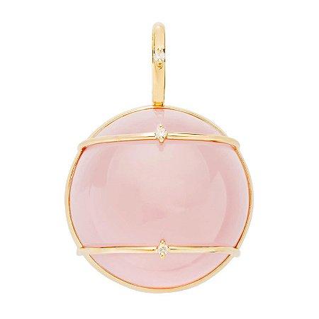 Pingente Ouro 18k - Quartzo Rosa - Pedra Preciosa - Sofisticada