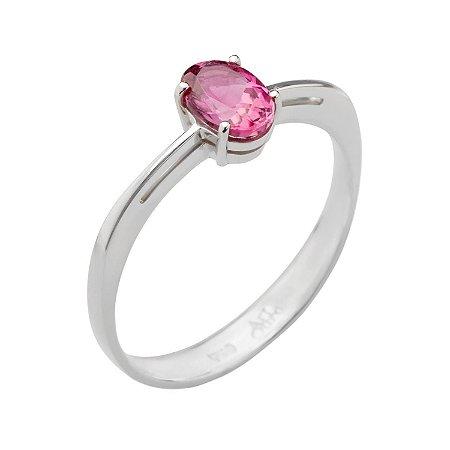 Anel De Ouro 18k - Turmalina Rosa - Oval - Anel Solitário