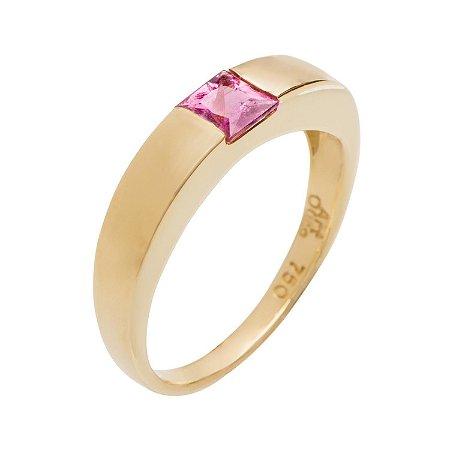 Anel de Ouro18k - Rubelita - Pedra Preciosa - Carre - Magnífico