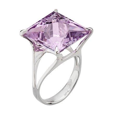 Anel de Ouro 18k - ametista - Pedra Preciosa - Carre - Magnífico