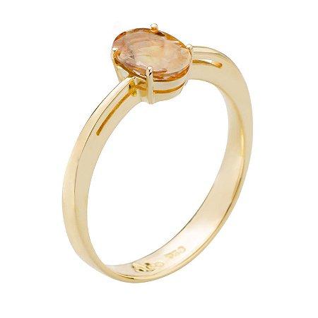 Anel Ouro 18k - Turmalina Imperial- Pedra Preciosa - Solitário