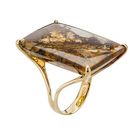 Anel de Ouro 18k - Dendrita - Pedra Preciosa - Magnífico