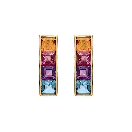 Brinco de Ouro 18k - Mix - Pedra Preciosa - Admirável
