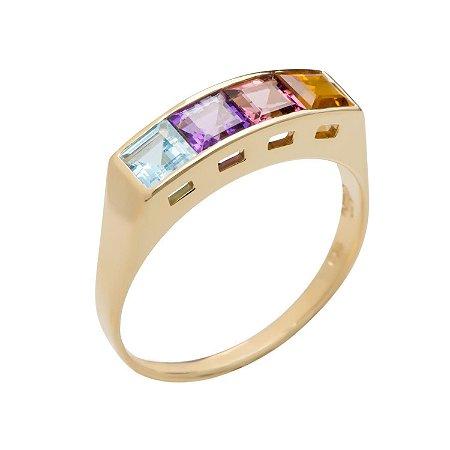 Anel de Ouro 18k - Mix - Pedra Preciosa - Admirável