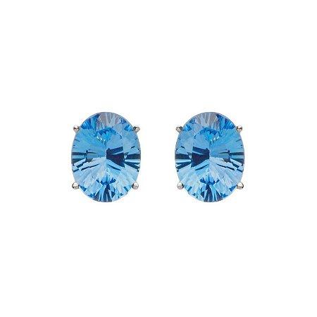 Brinco de Ouro - Topázio Azul - Oval - Delicado