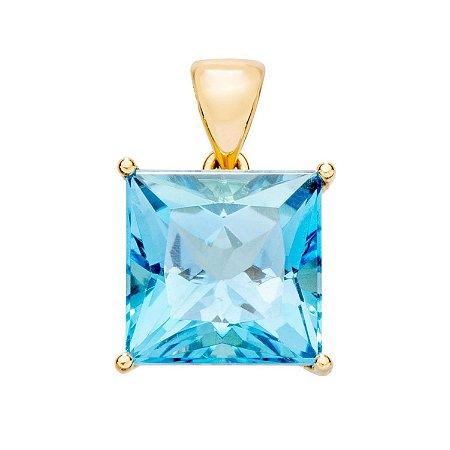 Pingente de Ouro - Topázio Azul - Pedra Preciosa - Encanto