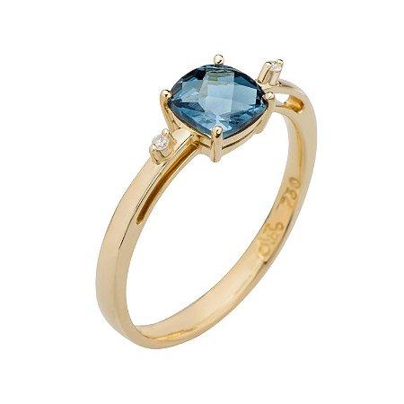 Anel de Ouro 18k - Topázio Azul - Pedra Preciosa - Notável