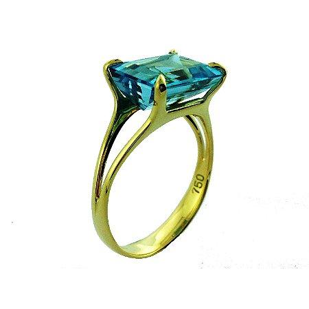 Anel de Ouro 18k - Topázio Azul - Pedra Preciosa - Magnífico
