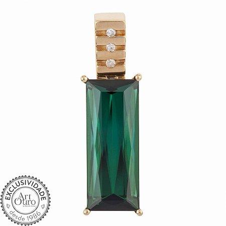 Pingente de Ouro 18k - Turmalina - Deslumbrante - Diamante